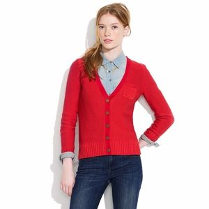 Madewell Red TopNote Knit Cardigan Sweater